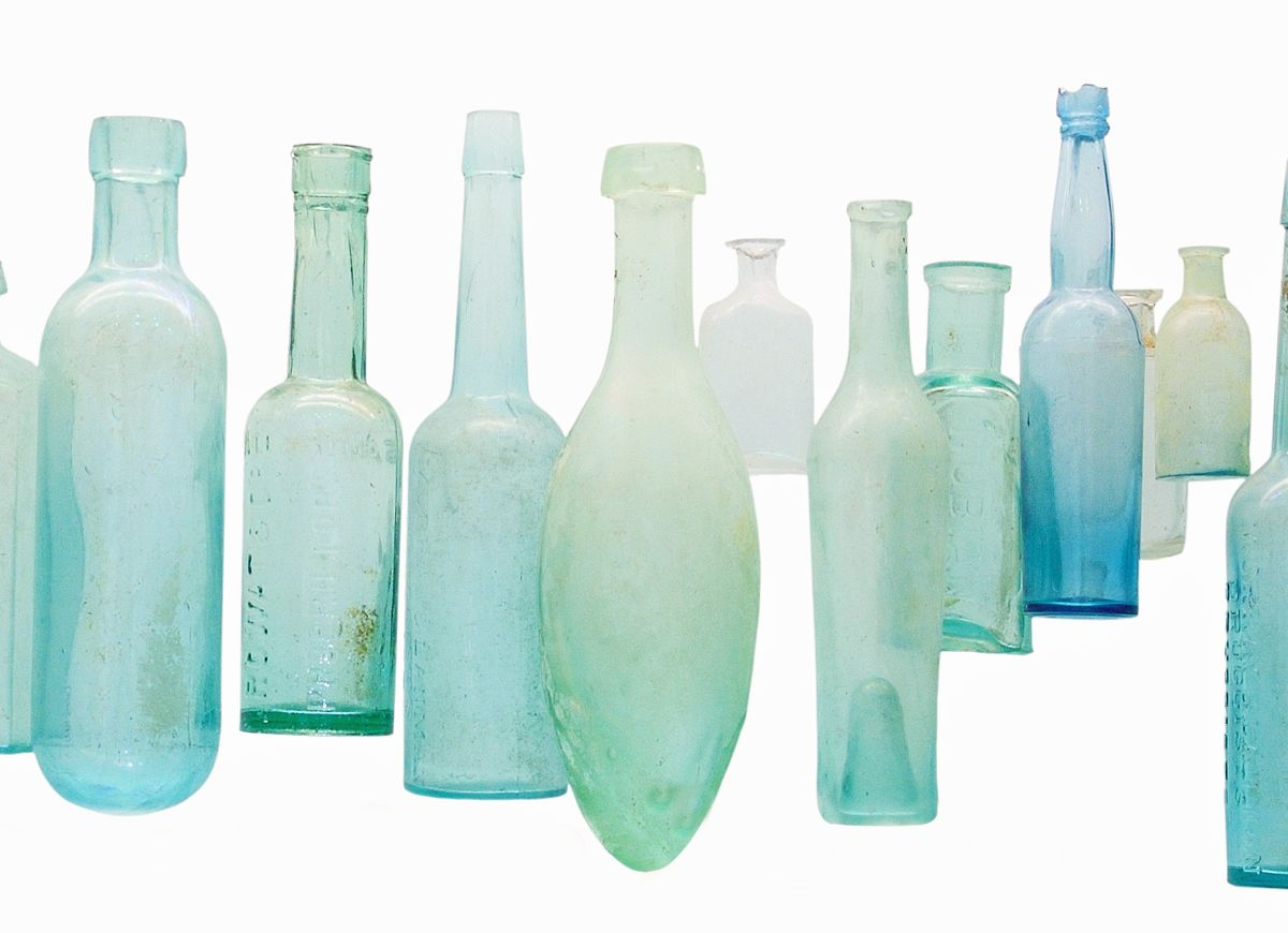 Bar Artefact - Beautifully Colored Blue Glasses Bottles