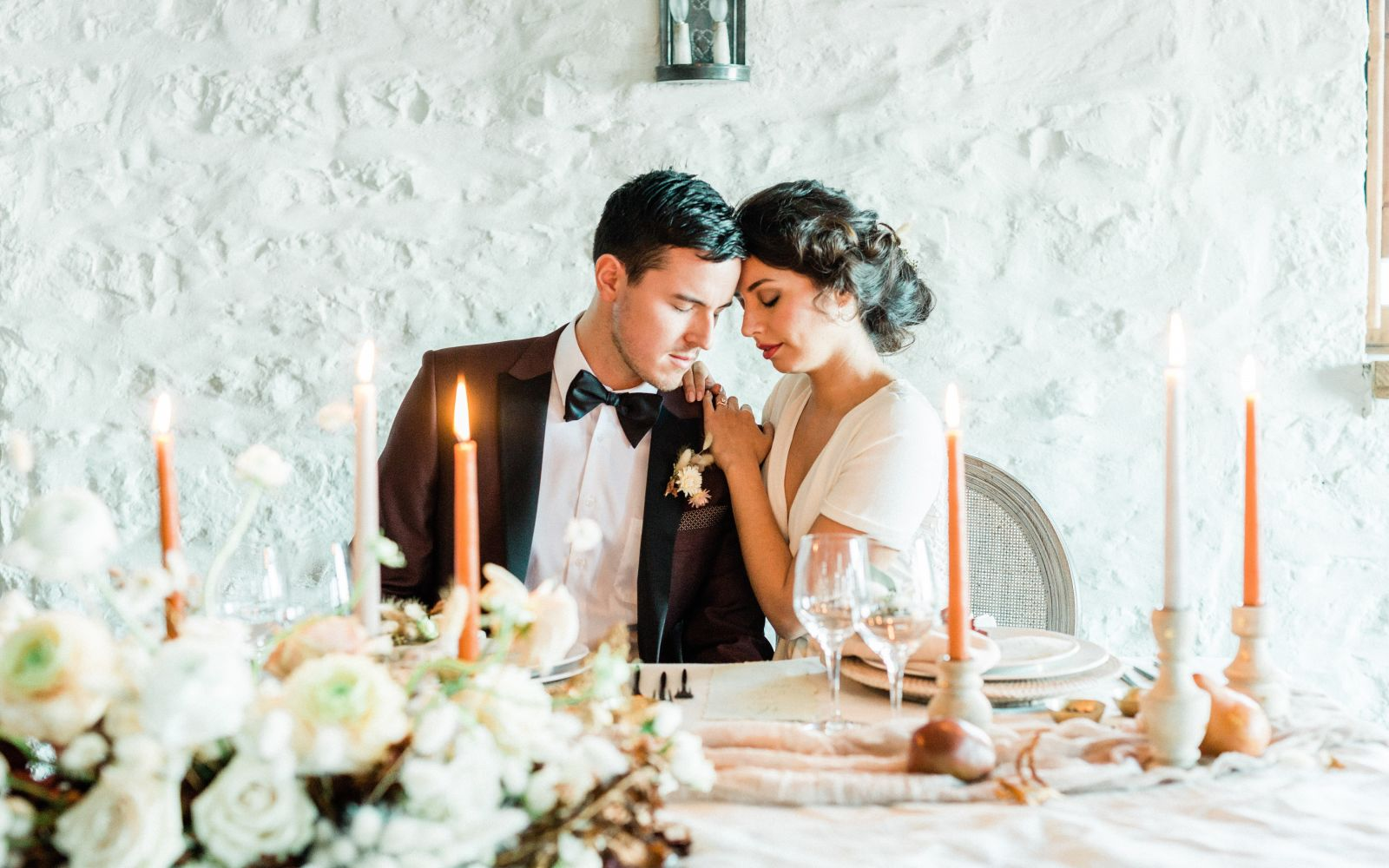 Wedding couple at Auberge Saint-Antoine